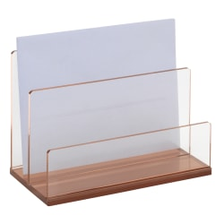 Realspace® Rose Gold Acrylic 2-Compartment Desk Sorter, Letter Size