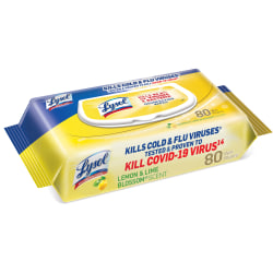 "Lysol® Disinfecting Wipes, Lemon And Lime Blossom, 7"" x 8"", Pack Of 80 Wipes"