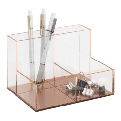 Realspace® Rose Gold Acrylic 4-Compartment Desk Caddy