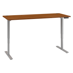 "Bush Business Furniture Move 80 Series 72""W x 30""D Height Adjustable Standing Desk, Natural Cherry/Cool Gray Metallic, Standard Delivery"