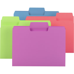 """Smead SuperTab File Folders - Letter - 8 1/2"""" x 11"""" Sheet Size - 3/4"""" Expansion - 1/3 Tab Cut - Top Tab Location - 11 pt. Folder Thickness - Stock - Bright Purple, Bright Pink, Bright Green, Bright Blue - Recycled - 24 / Pack"""
