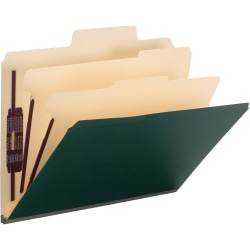 """Smead SuperTab Classification File Folders with SafeSHIELD Fastener - Letter - 8 1/2"""" x 11"""" Sheet Size - 2"""" Expansion - 6 Fastener(s) - 2/5 Tab Cut - Right of Center Tab Position - 2 Divider(s) - Linen - Dark Green - Recycled - 10 / Box"""