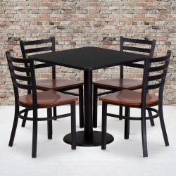 """Flash Furniture Square Table And 4 Ladder-Back Chairs, 30"""" x 30"""", Black"""
