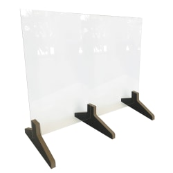 "Waddell Counter-Top Protective Plastic Shield With 3-Piece Wood Base, 24""H x 30""W x 12""D"