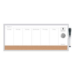 "U Brands Magnetic Dry-Erase Weekly Calendar, 18 3/4"" x 8 9/16"", Silver Aluminum Frame"