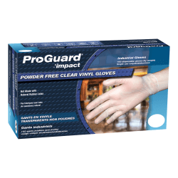 ProGuard Vinyl PF General Purpose Gloves - Medium Size - Vinyl - Clear - Disposable, Powder-free, Beaded Cuff, Ambidextrous, Comfortable - For Food Handling, Cleaning, Painting, Manufacturing, Assembling, General Purpose - 100 / Box