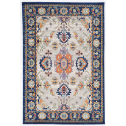"Linon Home Decor Products Sinclair Area Rug, 120""H x 96""W, Brett, Ivory/Teal"