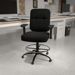 Flash Furniture Hercules Big And Tall Fabric Drafting Chair, Black