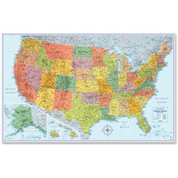 "Rand McNally U.S. Wall Map, United States, 32"" Width x 50"" Height"