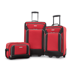 American Tourister® Fieldbrook XLT Polyester 3-Piece Luggage Set, Black/Red