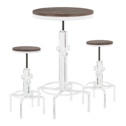 LumiSource Hydra Industrial Table With 2 Stools, Vintage White/Brown Bamboo