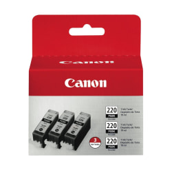 Canon PGI-220 Black Ink Cartridges (2945B004), Pack Of 3