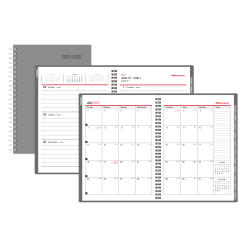 """Office Depot® Brand Weekly/Monthly Academic Planner, 5"""" x 8"""", 30% Recycled, Gray, July 2021 to June 2022, ODUS2033-007"""