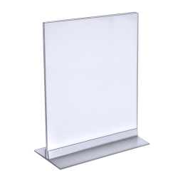 "Azar Displays Acrylic Vertical/Horizontal T-Strip Sign Holders, 9"" x 12"", Clear, Pack Of 10"
