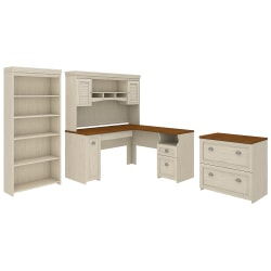 "Bush Furniture Fairview 60""W L-Shaped Desk With Hutch, Lateral File Cabinet And 5-Shelf Bookcase, Antique White, Standard Delivery"