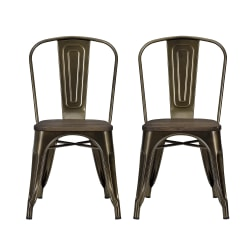 DHP Fusion Dining Chairs, Bronze/Brown, Set Of 2