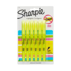 Sharpie® Accent® Pocket Highlighters, Yellow, Pack Of 6
