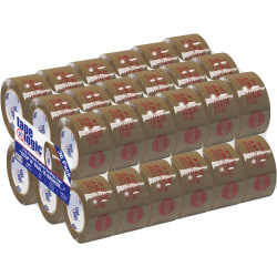 "Tape Logic® Stop If Seal Is Broken Preprinted Carton-Sealing Tape, 3"" Core, 2"" x 110 Yd., Red/Tan, Case Of 36"