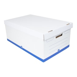 """Office Depot® Brand Medium Quick Set Up Corrugated Storage Boxes, Legal Size, 24"""" x 15"""" x 10"""", 100% Recycled, White/Blue, Case Of 12"""