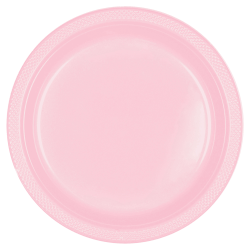 "Amscan Round Plastic Plates, 10-1/4"", Blush Pink, Pack Of 40 Plates"