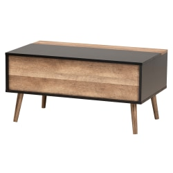 """Baxton Studio Modern And Contemporary 2-Tone Lift-Top Coffee Table With Storage Compartment, 15-3/4""""H x 31-1/2""""W x 18-15/16""""D, Black/Rustic Brown"""