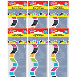 """TREND Color Harmony Terrific Trimmers Scalloped Borders, 2-1/4"""" x 39"""", Gray 'N Stripes, 12 Strips Per Pack, Set Of 6 Packs"""
