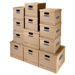 """Bankers Storage Box® SmoothMove™ Classic Moving & Storage Boxes With Lift-Off Lids, 14"""" x 18"""" x 15"""", 85% Recycled, Kraft, Case Of 12"""