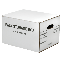 """SKILCRAFT® Easy Storage Boxes With Lift-Off Lids, Letter/Legal Size, 12"""" x 12"""" x 9 1/2"""", White, Case Of 12 (AbilityOne 8115 01 646 3158)"""