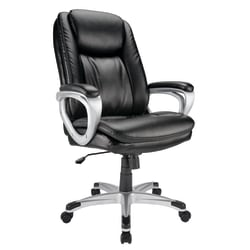 Realspace® Tresswell Executive Bonded Leather High-Back Chair, Black/Silver