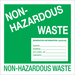 """Tape Logic® Preprinted Shipping Labels, DL1302, Non-Hazardous Waste, Square, 6"""" x 6"""", Green/White, Roll Of 500"""