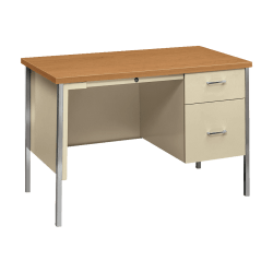 HON® 34000 Series Steel Single-Pedestal Desk, Harvest/Putty