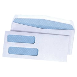 """Quality Park® Double Window Envelopes With Gummed Flap, 3 5/8"""" x 8 5/8"""", Box Of 500"""