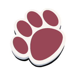 "Ashley Productions Magnetic Whiteboard Erasers, 3 3/4"", Maroon Paw, Pack Of 6"