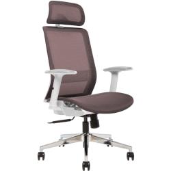 Sinfonia Sing Ergonomic Mesh High-Back Task Chair, Adjustable Height Arms, Headrest, Copper/White