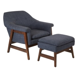 Ave Six Flynton Chair And Ottoman, Navy/Medium Espresso