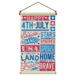"Amscan Patriotic Large Canvas Hanging Sign, 31"" x 18"""