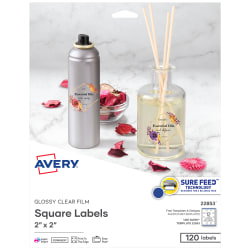 """Avery® Print-To-The-Edge Labels, 22853, Square, 2"""" x 2"""", Glossy Clear, Pack Of 120"""