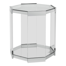 "Powell Runyan Octagon Glass Side Table, 23""H x 20""W x 20""D, Clear"