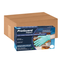 ProGuard Aloe Coated Vinyl General Purpose Gloves - Aloe Coating - Large Size - Vinyl - Green - Disposable, Powder-free, Ambidextrous, Beaded Cuff - 1000 / Carton - 4 mil Thickness
