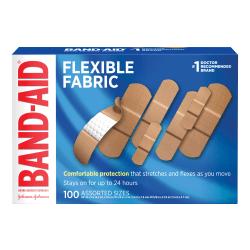 Band-Aid Brand Flexible Fabric Adhesive Bandages, Assorted Sizes, Box of 100 Bandages
