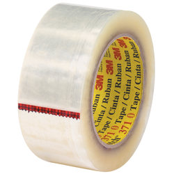 "3M™ 371 Carton Sealing Tape, 3"" Core, 2"" x 55 Yd., Clear, Case Of 6"