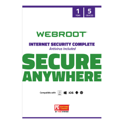 Webroot® Internet Security Complete With Antivirus Protection 2020, For 5 PC And Mac® Devices, 1-Year Subscription, Disc