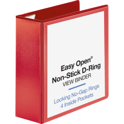"Sparco Easy Open Nonstick D-Ring View Binder - 4"" Binder Capacity - D-Ring Fastener(s) - 4 Pocket(s) - Polypropylene - Red - Non-stick, Ink-transfer Resistant - 1 Each"