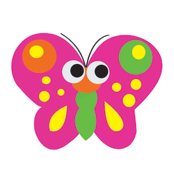 """Ashley Productions Magnetic Non-Magnetic Dry-Erase Whiteboard Eraser, 3 1/2"""" x 3"""" x 3/4"""", Butterfly"""