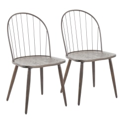 LumiSource Riley High-Back Chairs, Dark Walnut/Bronze, Set Of 2 Chairs