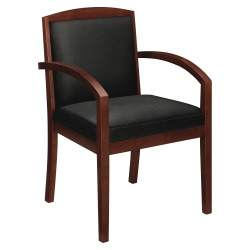 HON® Bonded Leather Guest Chair With Wood Frame, Mahogany/Black
