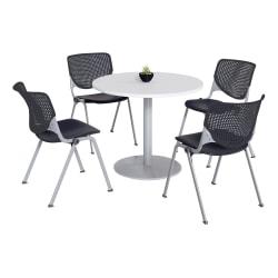 KFI Studios KOOL Round Pedestal Table With 4 Stacking Chairs, White/Black