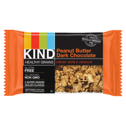 KIND Healthy Grains Snack Bars, Chewy Peanut Butter Dark Chocolate, 1.2 Oz, Box Of 12