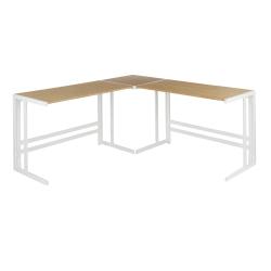 "LumiSource Roman 68""W L-Shaped Office Desk, White/Natural"