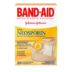 Band-Aid® Brand Antibiotic Bandages, Assorted Sizes, Box Of 20